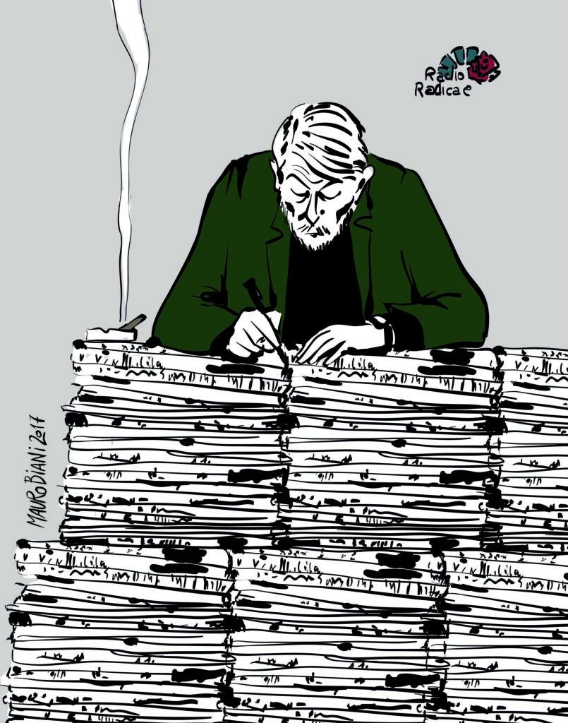 """alt=""""Massimo Bordin in una vignetta di Mauro Biani"""""""